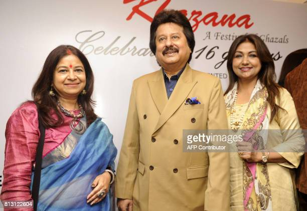 Indian Ghazal singers Rekha Bharadwaj Pankaj Udhas and Mitali Singh attend a press conference for the 'Khazana Ghazal Festival 2017' in Mumbai on...