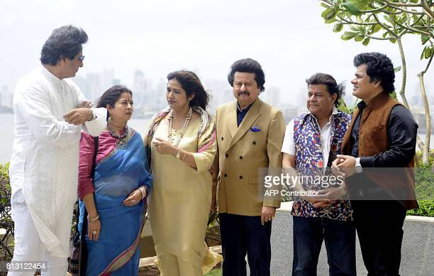 Indian Ghazal singers Talat Aziz Rekha Bharadwaj Mitali Singh Pankaj Udhas Anup Jalota and Sudeep Banerjee attend a press conference for the 'Khazana...