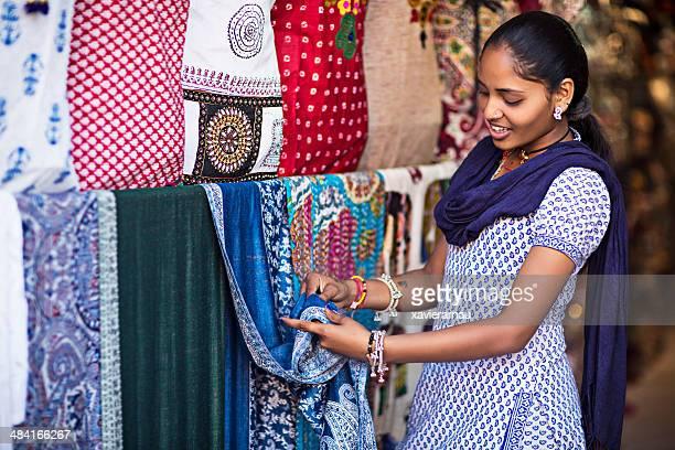 Indian girl shopping a sari