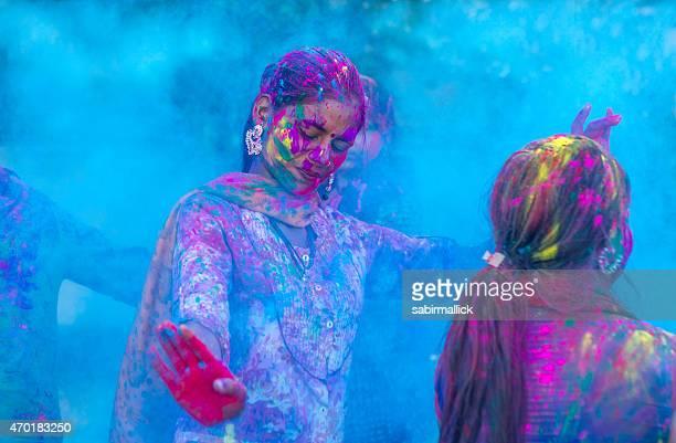 Indian Girls Celebrating Holi