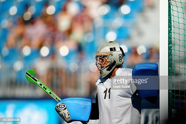 Indian goal keeper Savita Punia during the Women's preliminary match between Canada and India at Glasgow National Hockey Centre during day one of the...