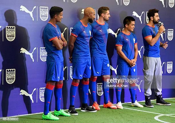 Indian goalie Subrata Paul French footballer Nicolas Anelka Brazilian footballer Andre Moritz and Indian striker Sunil Chhetri with Bollywood star...