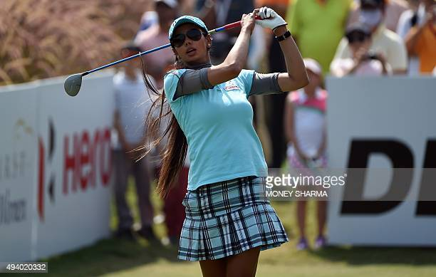 Indian golfer Sharmila Nicollet hits the ball during the Women's Indian Open golf tournament in Gurgaon on the outskirts of New Delhi India on...