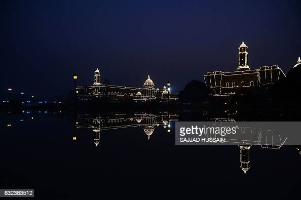 TOPSHOT Indian goverment buildings are seen illuminated with decorative lights ahead of India's Republic Day celebrations in New Delhi on January 22...