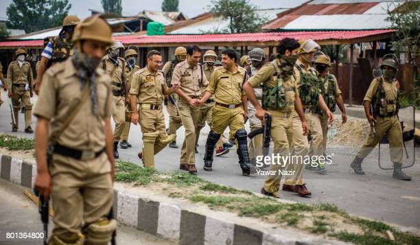 Indian government forces patrol after an anti India protest by Kashmiri Muslim protesters on Eidulfitr a festival of Muslims on June 26 2017 in...