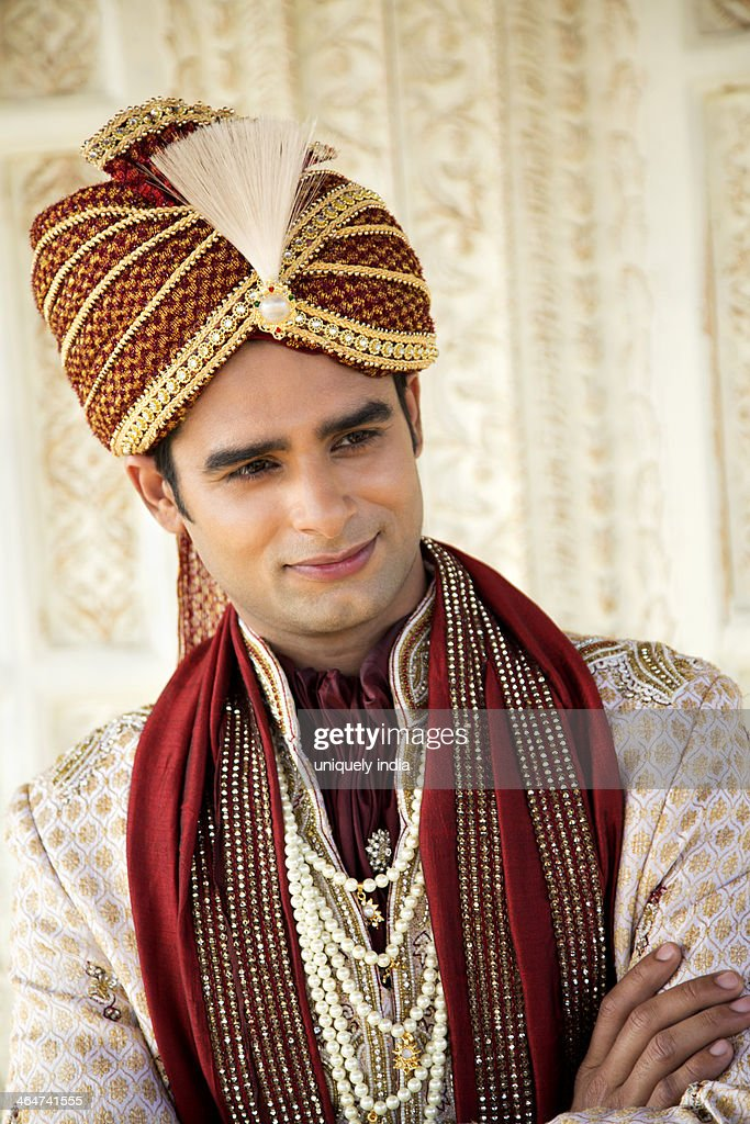 Indian Groom In Traditional Wedding Outfit Stock Photo