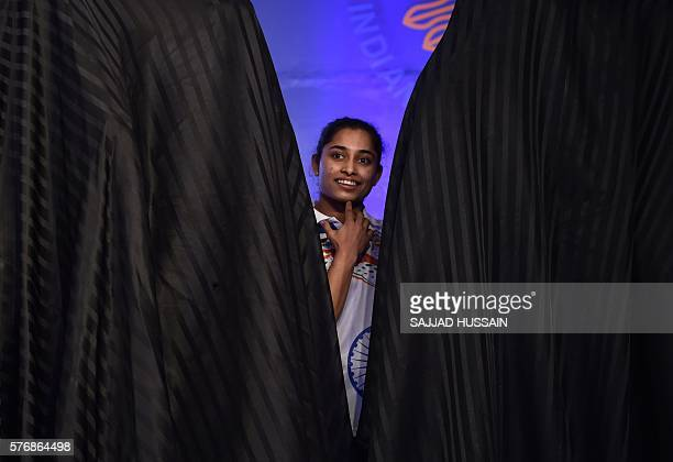 Indian gymnast Dipa Karmakar attends a sendoff event for Indian athletes ahead of the Olympic Games that are being held in Rio de Janeiro in August...