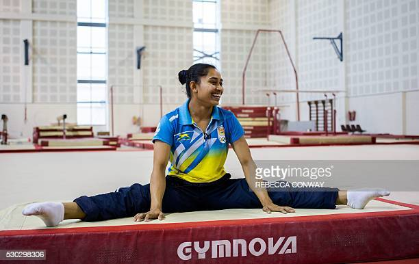 Indian gymnast Dipa Karmakar speaks during an interview with AFP at The Indira Gandhi Sports Complex in New Delhi on May 5 2016 As Dipa Karmakar...