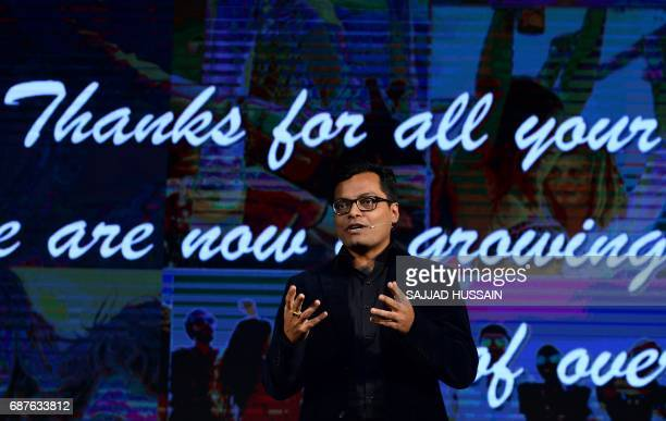 Indian Head of Marketing Systems for business group Asus India Arindam Saha speaks during the launch of the Asus ZenFone Live smartphone in New Delhi...