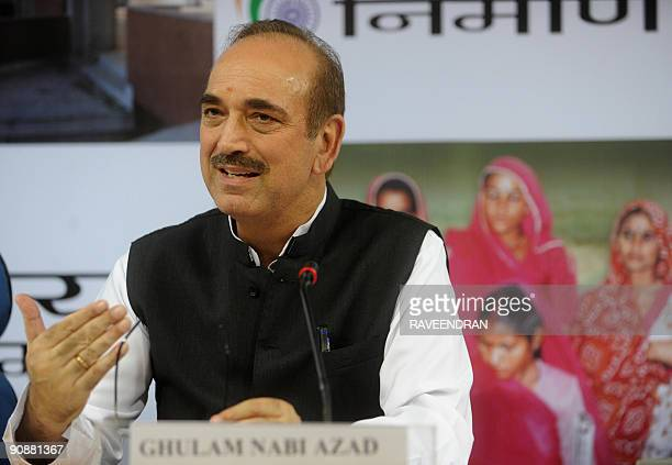 Indian Health Minister Ghulam Nabi Azad addresses a press conference in New Delhi on September 17 2009 Azad said that the government would open 53...