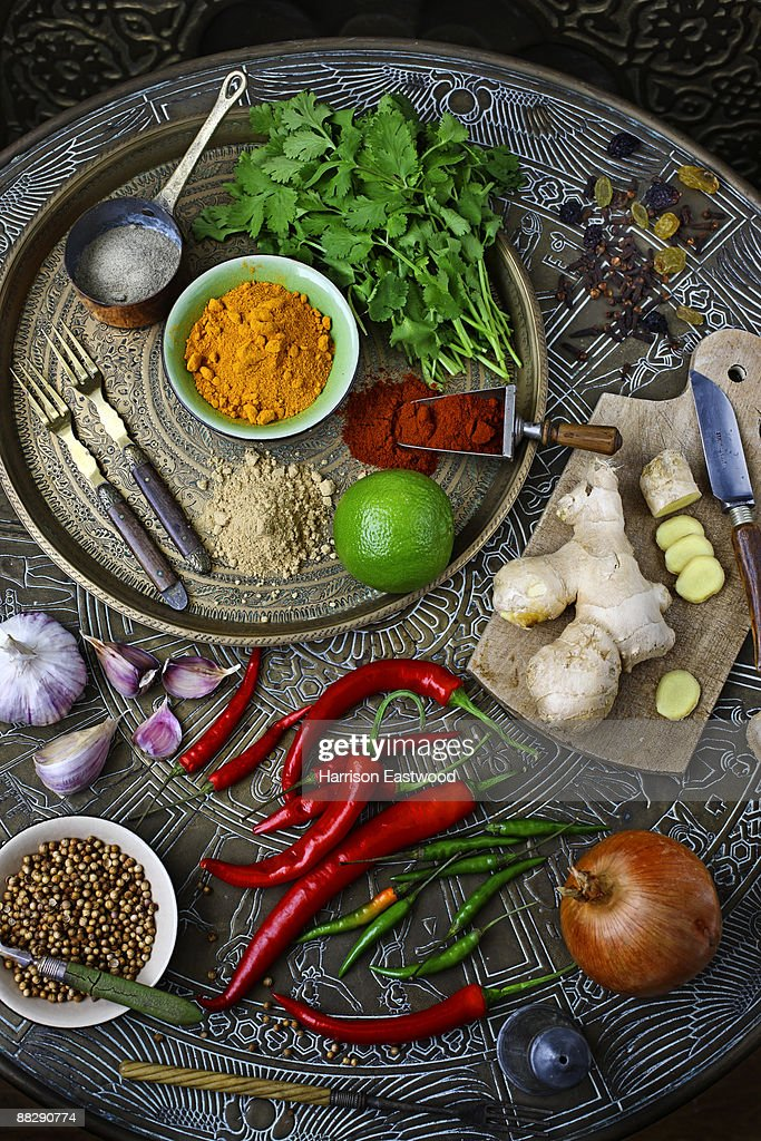 indian herbs and spices on table