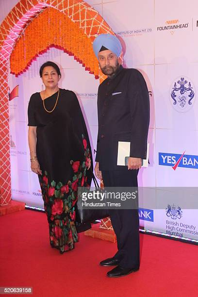 Indian High Commissioner to the UK Navtej Sarna arrives for the Bollywood theme dinner at the Taj Palace Hotel on April 10 2016 in Mumbai India