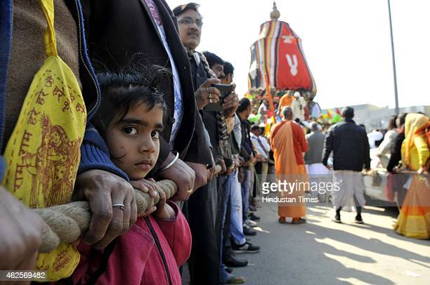 Indian Hindu devotees during the Jagannath Rath Yatra Festival on January 31 2015 in Noida India Yatra is the name of the massive Chariot Festival of...