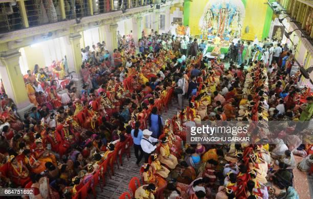 Indian Hindu girls take part in the Kumari Puja at the Adyapeath Ashram on the outskirts of Kolkata on April 5 2017 Kumari Puja a tradition of...