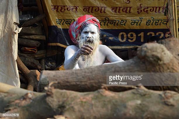 Indian Hindu Naga Sadhu in Gangasagar transit camp at KolkataSadhus form all over the country started to gather in Kolkata on their way to the annual...