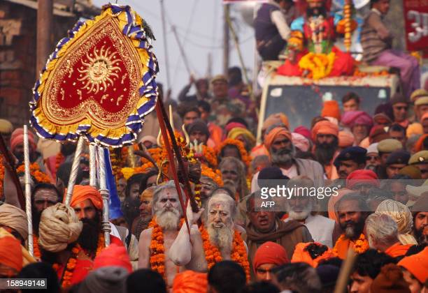 Indian Hindu Saddhus participate in a religion procession in preparation for the Kumbh Mela at Sangam in Allahabad on January 4 2013 The Kumbh Mela...