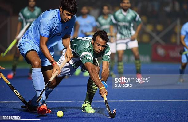 Indian hockey player Ajitesh Roy controls the ball during the match between India and Pakistan at the 12th South Asian Games 2016 in Guwahati on...