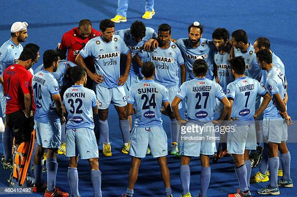 Indian hockey team after lost the semifinal match against Pakistan during the Hero Men's Champions Trophy 2014 at Kalinga Stadium on December 13 2014...