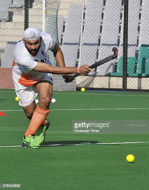 Indian Hockey team player Sandeep Singh during the training cap at National Stadium on March 13 2014 in New Delhi India