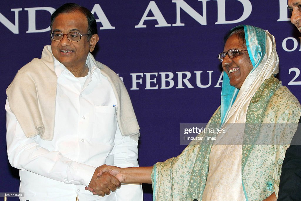Indian Home Affairs Minister P. Chidambaram (L) meets with his Bangladeshi counterpart Shahara Khatun during the joint press conference on Home Minister level talks between the two countries on February 24, 2012 in New Delhi, India. Addressing the joint press conference Khatun said that both the countries are victims of terrorism and hence Bangladesh will never allow any anti-India activity on its soil.