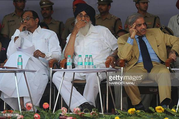 Indian Home Minister P Chidambaram along with Indian Punjab state Chief Minister Parkash Singh Badal and Pakistani Punjab state Chief Minister...