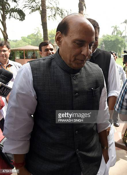 Indian Home Minister Rajnath Singh arrives at Parliament in New Delhi on April 20 2015 As the Budget session of Parliament resumes Prime Minister...
