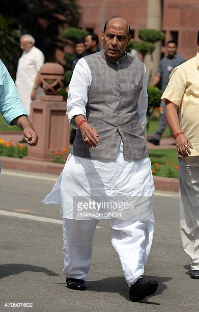 Indian Home Minister Rajnath Singh leaves after a Bharatiya Janata Party parliamentary committee meeting at parliament in New Delhi on April 21 2015...