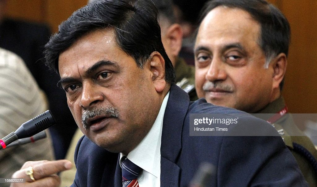 Indian Home Secretary R K Singh (L) and Delhi Police Commissioner Neeraj Kumar addressing the media on recent rape case, at Home Ministry on December 21, 2012 in New Delhi, India. The parliament standing committee on Home affairs has issued the summons to Home secretary RK Singh and Delhi police commissioner Neeraj Kumar on the security of women in country in the wake of recent gang rape case in Delhi.