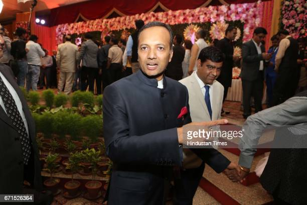 Indian industrialist Naveen Jindal during the wedding reception of INLD MP Dushyant Chautala with Meghna Ahlawat at Ashoka Hotel on April 20 2017 in...