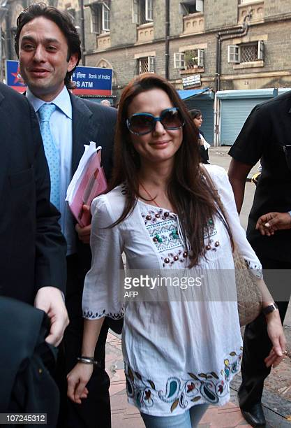 Indian Industrialist Ness Wadia and Bollywood actor and partowner of the axed Indian Premier League team Kings XI Punjab Preity Zinta leave The High...