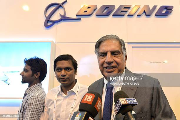 Indian industrialist Ratan Tata addresses media representatives floowing a meeting with Boeing officials on their stand at Yelahanka Airforce Station...