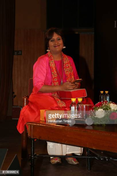 Indian journalist Barkha Dutt during the launch of the 10th anniversary edition of a book 'India After Gandhi' written down by historian and author...