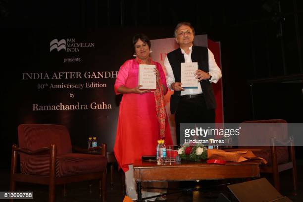 Indian journalist Barkha Dutt with British publisher historian and author Ramachandra Guha during the launch of the 10th anniversary edition of a...