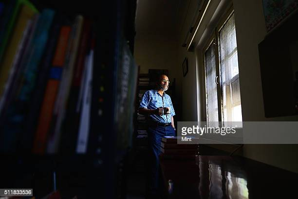 Indian journalist political commentator author and a documentary filmmaker Paranjoy Guha Thakurta poses for a profile shoot on April 9 2014 in New...