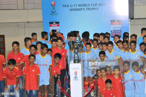Indian junior Footballers with The FIFA U17 World Cup 2017 Winners Trophy visit in Kolkata City on September 012017 at Kolkata Khudiram Anusilan...
