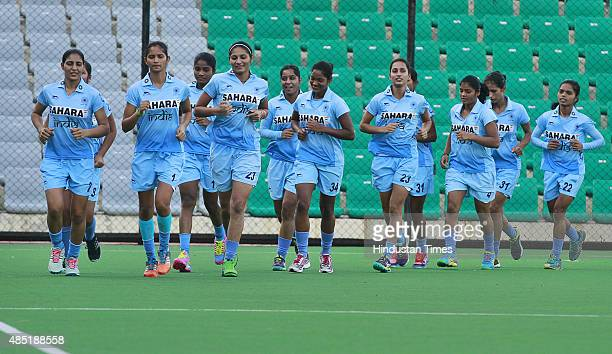 Indian Junior Women Hockey team during the practice session at National Stadium on August 25 2015 in New Delhi India The camp is in preparations for...