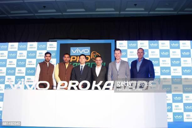 Indian Kabaddi players Rahul Chaudhari Anup Kumar pose with Kent Cheng CEO Vivo India Sanjay Gupta Managing Director Star India and former Australian...