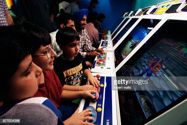 Indian kids and their parents at Future Zone a successful video arcade in Visant Vihar
