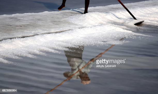 Indian labourer Murugan uses a wooden rake as he works on a salt pan at Thoothukudi some 160kms south of Madurai on May 14 where labourers earn an...