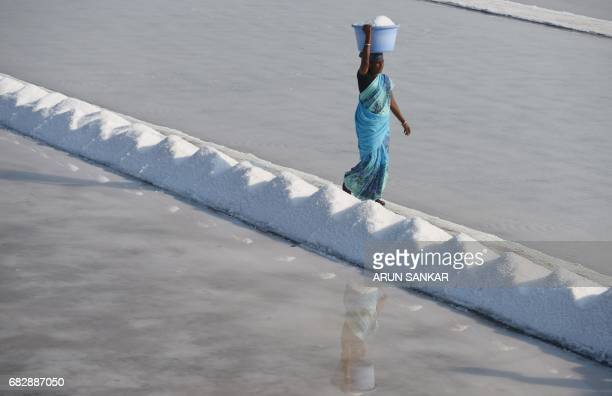 Indian labourer Thangam carries a basket with salt as she works on a salt pan at Thoothukudi some 160kms south of Madurai on May 14 where labourers...