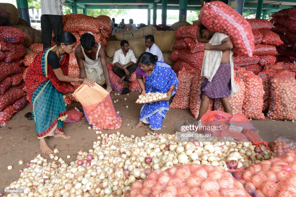 Indian labourers fill onion bags ahead of their loading onto transport vehicles at a wholesale market yard in Hyderabad on August 17, 2013. India's food inflation rate rose to an annualized 9.5 percent led by a spike in onion prices which were up 34 percent from June. Onion prices have been rising in India as the crop has been hit by excessive rains. AFP PHOTO/Noah SEELAM