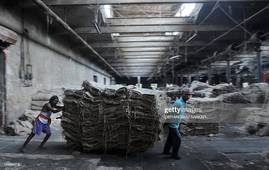 Indian labourers shift bags inside a jute mill at Jagatdal some 75kms north of Kolkata on May 14, 2012. Jute is a crop which relies heavily on rainfall and cultivation is chiefly concentrated in South Asia, it is the cheapest vegetable fibre procured from the bast or skin of the plant's stem and the second most important vegetable fibre after cotton, in terms of usage, global consumption, production, and availability. It has high tensile strength, low extensibility, and ensures better breathability of fabrics. Jute fibre is 100% bio-degradable and recyclable and thus environmentally friendly. The British East India Company was the first jute trader in South Asia and established links with European countries notably Dundee in Scotland which gave rise to 'The Jute Barons' who eventually set up mills on the outskirts of Kolkata. In the 21st century jute has a variety of uses such as grain bags, home textiles, floor coverings and even footwear in the form of espadrilles. AFP PHOTO/ Dibyangshu SARKAR