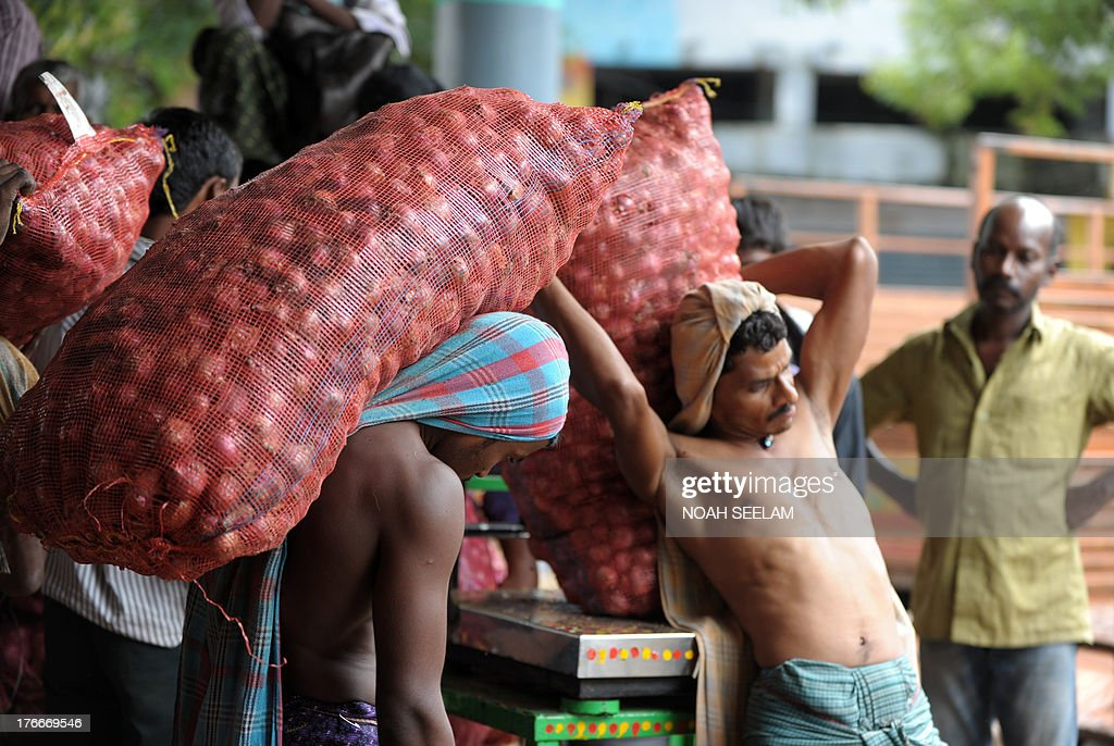 Indian labourers weigh onion bags ahead of loading them onto waiting transport vehicles at a wholesale market yard in Hyderabad on August 17, 2013. India's food inflation rate rose to an annualized 9.5 percent led by a spike in onion prices which were up 34 percent from June. Onion prices have been rising in India as the crop has been hit by excessive rains. AFP PHOTO/Noah SEELAM