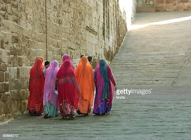 Indian ladies going up to Meherangarh Fort,Jodhpur,India.