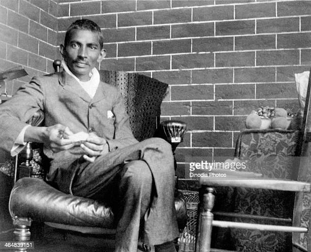 Indian lawyer activist and statesman Mohandas Karamchand Gandhi recuperating after being severely beaten on 10th February as he was making his way to...