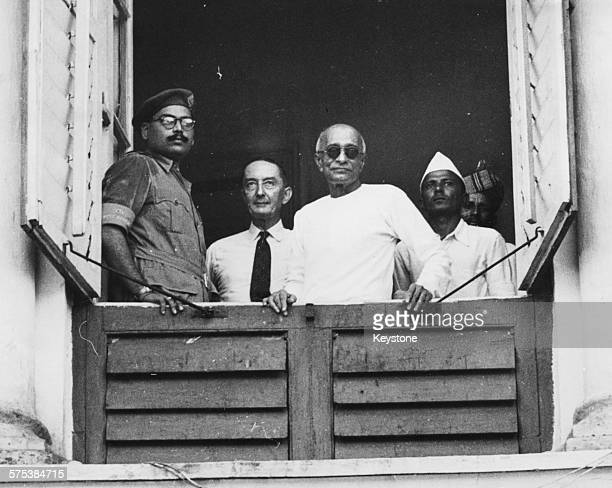 Indian lawyer and activist Chakravarti Rajagopalachari the new Governor of West Bengal pictured in the window of Government House on Independence Day...