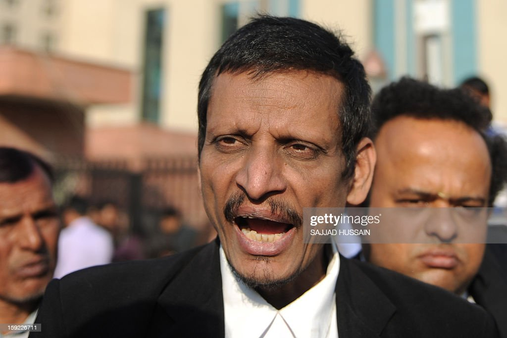 Indian lawyer M.L. Sharma, who represents two of the five adult defendants on trial for the gang-rape of a student, speaks with the media outside the Saket District Court in New Delhi on January 10 ,2013. A lawyer for the defendants in the New Delhi gang-rape case accused police on January 10 of beating confessions out of them as they appeared for their second court appearance. AFP PHOTO/SAJJAD HUSSAIN