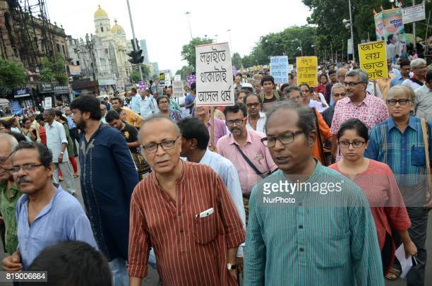 Indian leftist intellectuals take part in peace and unity rally in Kolkata India on Wednesday 19th July 2017