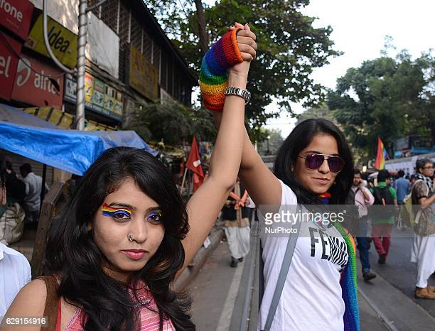 Indian Lesbian Gay Bisexual and Transgender activists participated in Rainbow Pride Walk in Kolkata India on Sunday 11th December 2016 LGBT community...