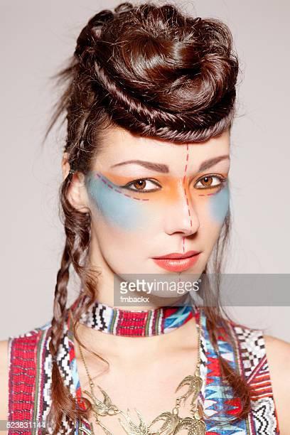 Indien Coup d'oeil beauté femme créative tressé
